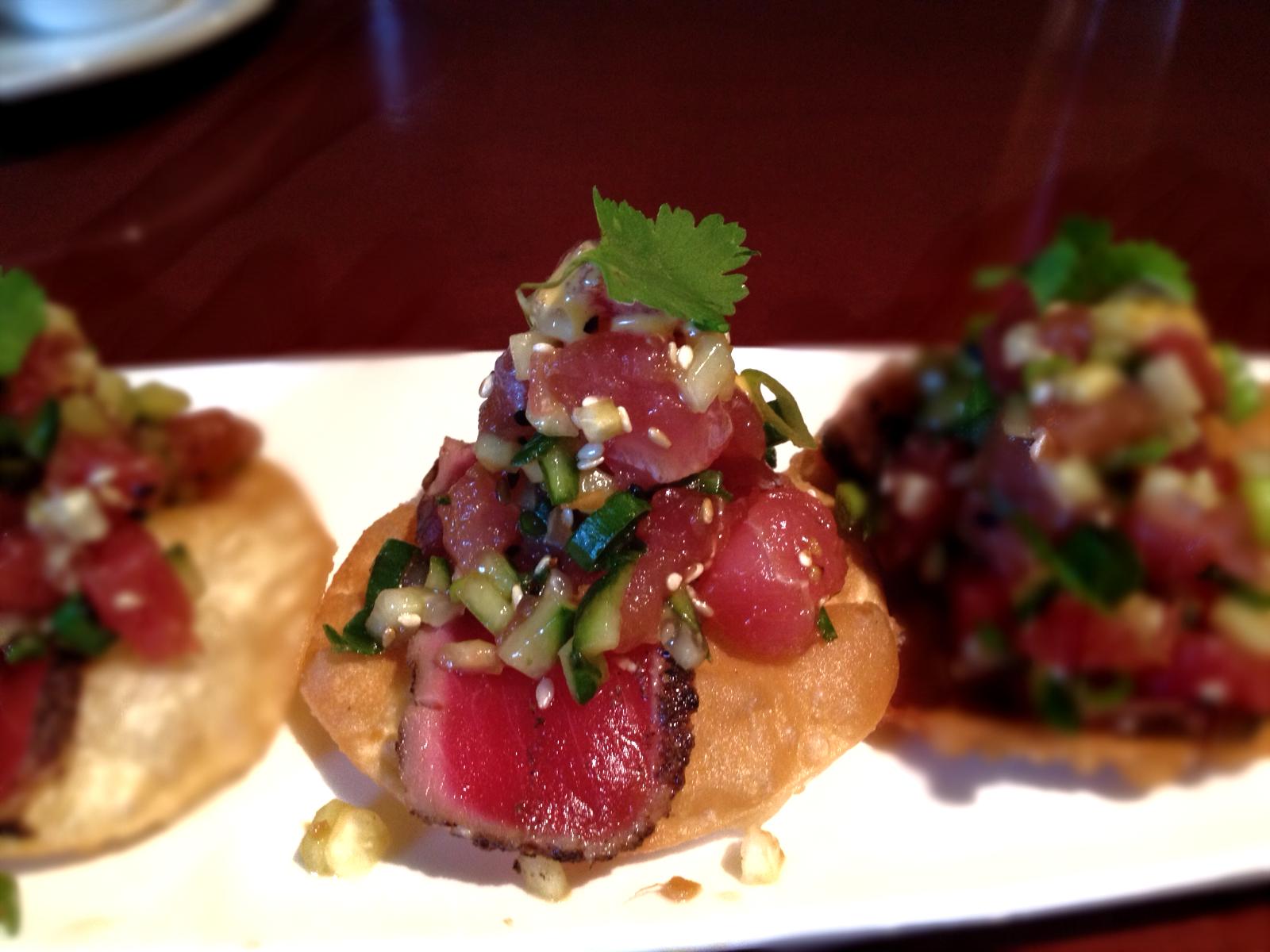 Tuna Tataki Roll Of the tuna tataki crisps.