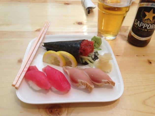 Spicy tuna hand roll, maguro and albacore tuna.
